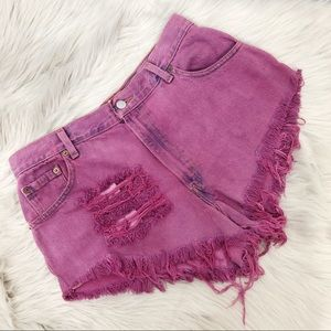 Levi's High Rise Cheeky Distressed Purple Shorts